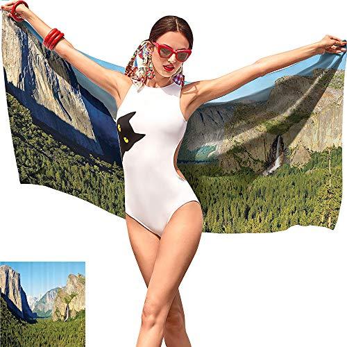 Gabriesl Apartment Decor Beach Towel Blanket,El Capitan Half Dome and Bridalveil Falls Tourist Attractions Landscape Decoration Green Blue,Adult Beach Towel W19 x ()