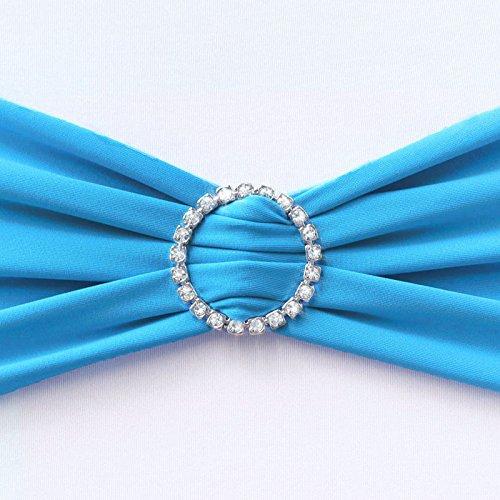 OurWarm Stretchhusse Bänder Diamant Ring mit Schnalle für Hochzeiten und Partys, Aqua Blue, 1 Set (Stück)