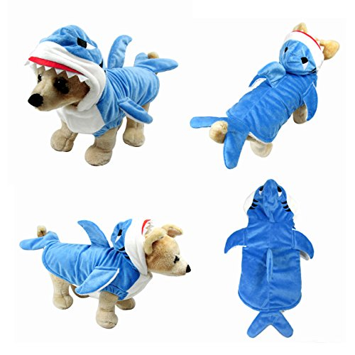 [Yoption Pet Puppy Dog Christmas Halloween Clothes Outwear Coat Apparel Hoodie (L, Stereo Shark)] (Dog Outfits For Christmas)