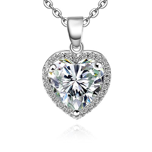 Heart Light CZ Pendant Necklace - White Gold Plated AAA+ Cubic Zirconia Pendant Necklace For Women Girls. Light Sapphire Necklace