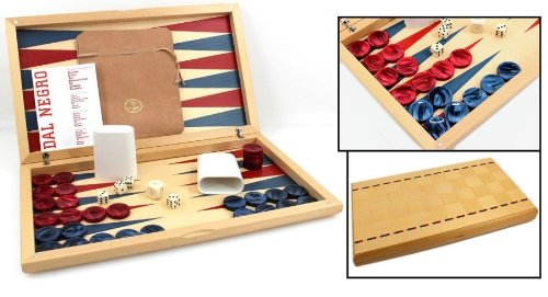 Dal Negro Maple Itaca Backgammon Set - Red and Blue