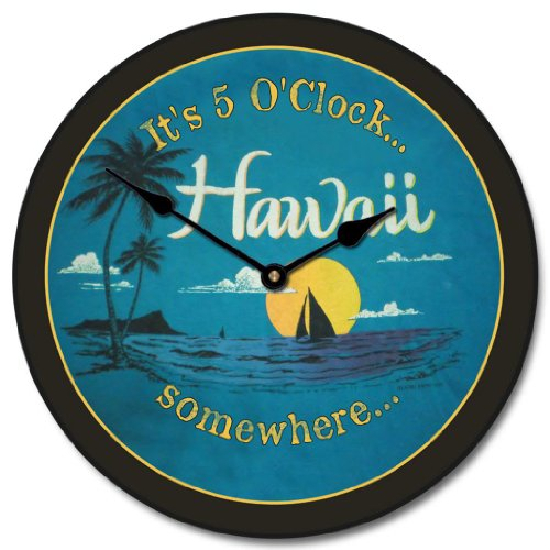 Hawaii Beach Wall Clock, Available in 8 sizes, Most Sizes Ship 2 - 3 days, Whisper Quiet. by The Big Clock Store