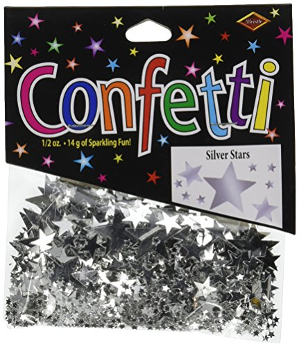 Beistle CN131 Silver Stars Confetti, (Hollywood Sweet 16)