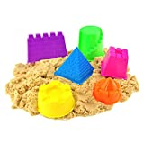 Image of Gouptec 6 Piece Geometric Shapes Castle Compatible with Kinetic Sand Clay Mold Building Pyramid Sandcastle Beach Sand Toy Baby Child Kid Model Building Kits (Sand not included)