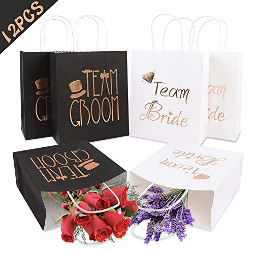 PartyTalk 12pcs Wedding Party Gift Bags 6 Groomsmen