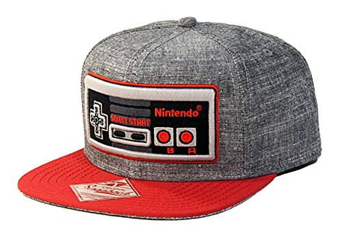 - Nintendo Controller - Snapback Hat, Gray and Red, One Size