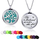 TOODOO Aromatherapy Essential Oil Diffuser Necklace Stainless Steel Engraved Pendant Locket Jewelry 24 Inch Adjustable Chain, 16 Refill Pads (Tree B)