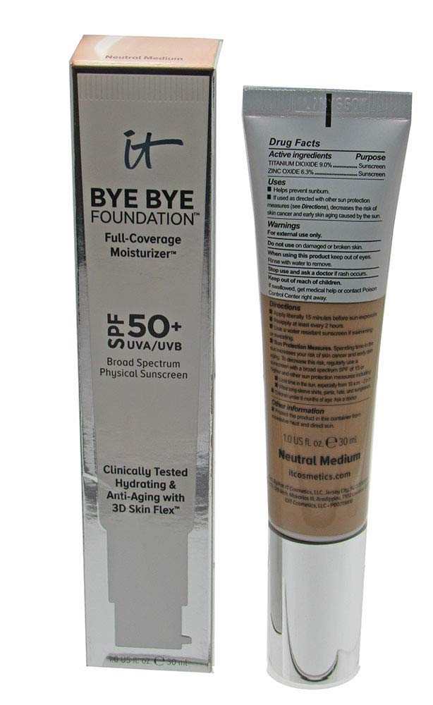 IT Cosmetics Bye Bye Foundation Full Coverage Moisturizer with SPF 50+: NEUTRAL MEDIUM - 1 oz-30 ml
