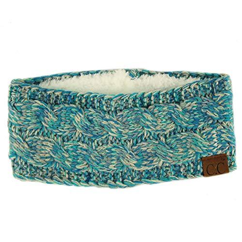 Winter Fuzzy Fleece Lined Thick Knitted Headband Headwrap Earwarmer Quad Blue