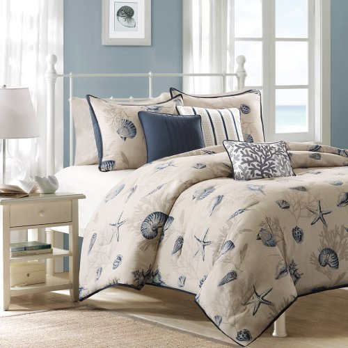 Madison Park Bayside Duvet Cover Full/Queen Size - Blue, Khaki, Seashells Duvet Cover Set – 6 Piece – 100% Cotton Sateen Light Weight Bed Comforter (Bayside Twin Bed)