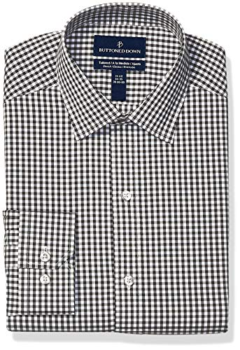 - BUTTONED DOWN Men's Tailored Fit Tech Stretch CoolMax Easy Care Dress Shirt, Black Gingham, 17.5