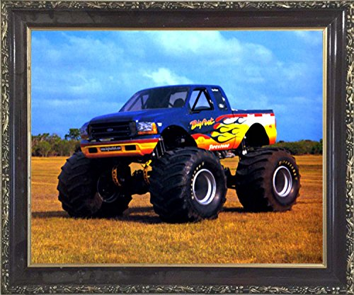 Bigfoot Monster Truck Racing Wall Decor Mahogany Framed Picture Art Print