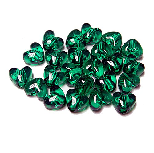 ransparent Emerald Green 12mm Heart shaped Pony Beads, made in USA ()