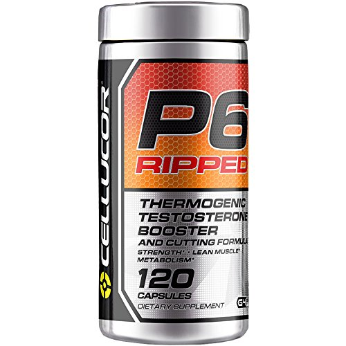 Cellucor P6 Ripped Testosterone Booster For Men + Thermogenic Weight Loss Formula, Build Strength & Lean Muscle, Boost Metabolism & Energy, 120 Capsules