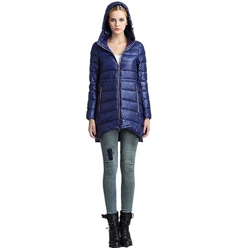 BOMOVO Mujeres Abrigo de Manga Larga con Capucha Coat Jacket delgado