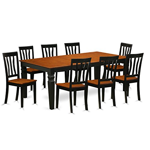 East West Furniture LGAN9-BCH-W 9Piece Kitchen Dinette Set with One Logan Table & 8 Dining Chairs in black & Cherry Finish
