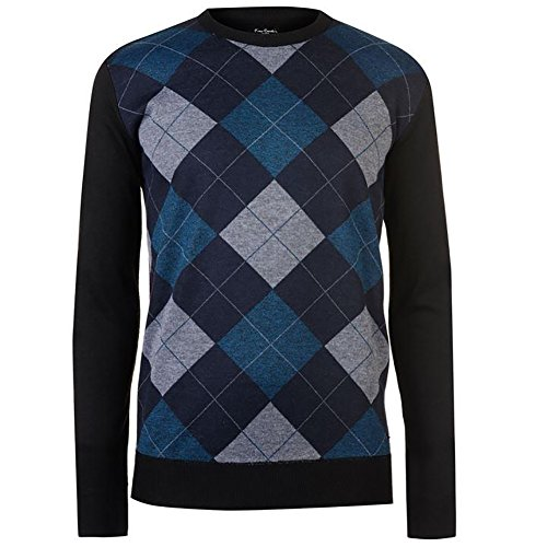 Argyle Jumper - Pierre Cardin Mens New Season Crew and V-Neck Argyle Knitted Jumper (2XL, Navy/Ink/Grey)