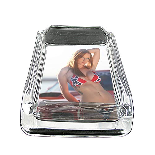Southern Country Pin Up Girls American USA Cowgirl S33 Glass Square Ashtray 4''x3'' Sturdy Cigarette Smoking Bar by JS & Caren (Image #2)