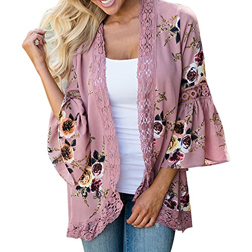 - HAALIFE◕‿Womens Floral Loose Bell Sleeve Kimono Cardigan Lace Patchwork Cover Up Blouse Top Pink