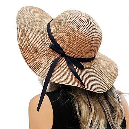 ZOORON Womens Floppy Summer Sun Beach Straw Hat, Foldable Wide Brim Hats with Bowknot UPF50 (Beach Hat)
