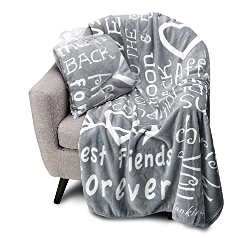 Blankiegram I Love You Throw Blanket The Perfect Caring Gift for Best Friends, Couples & Family (Grey) (Gift For Friend Best Christmas)