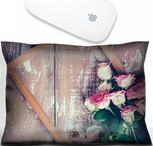 Luxlady Mouse Wrist Rest Office Decor Wrist Supporter Pillow Natural Rubber Mousepad. IMAGE: 31211338 Bouquet of pink roses and a wooden on old board background vintage color tinting ()