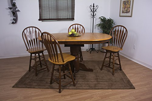 Butterfly Pub Table (Sunset Trading 5 Piece Pedestal Butterfly Leaf Pub Table Set in Nutmeg and Light Oak with 24