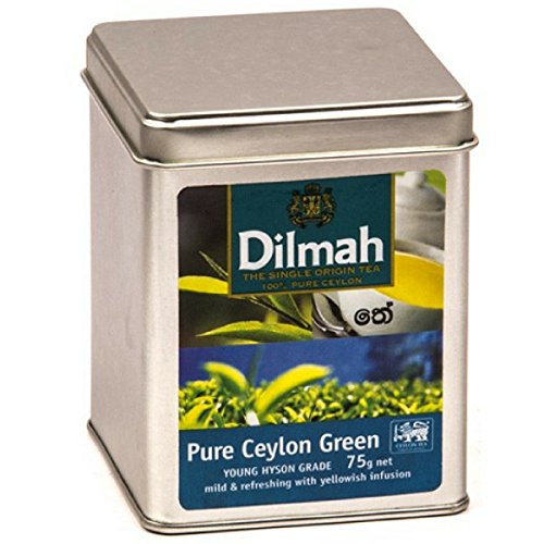Dilmah Pure Ceylon Green tea YOUNG HYSON GRADE Loose Leaf Tea - 75g Tin Caddy - Sri Lanka Real Tea by Dilmah