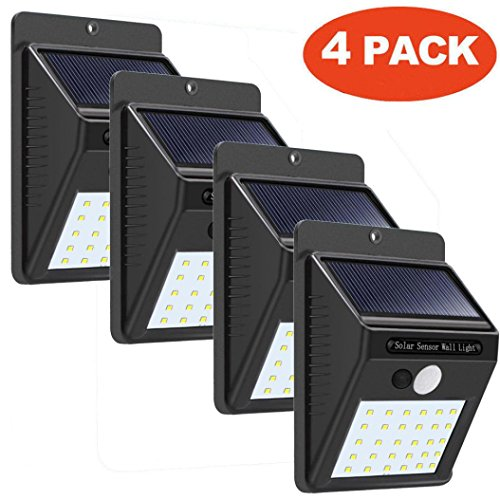 XEDUO Outdoor Wall Lamps, 4 x 30 LED Solar Powered Wall Light Motion Sensor Outdoor Garden Security Lamp for Courtyard Aisle Porch or Driveway (Black) - Moonlight Fairy Lamp