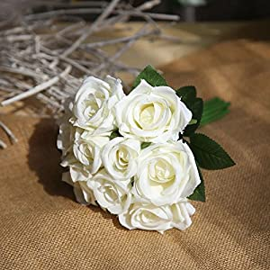 Muhan Artificial Fake Flowers Silk Plastic Artificial Roses 9 Heads Bridal Wedding Bouquet for Home Garden Party Wedding Decoration 39