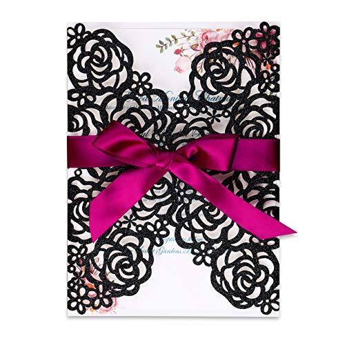 PONATIA 25PCS/Lot 250GSM 5.12 x 7.1'' Laser Cut Hollow Rose with Burgundy Ribbons Glitter Wedding Invitations Cards for Wedding Bridal Shower Engagement Birthday Graduation Invite (Black Glitter) (Black Cut Laser)