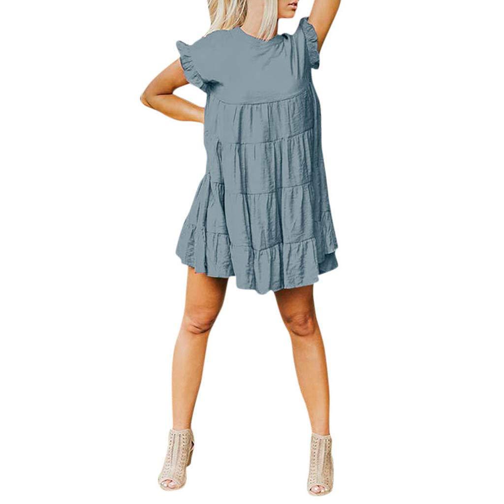 Women's Summer Mini Dress Casual Plus Size Cotton Linen Short Dress Loose Sleeveless Ruffle Party Club A-Line Dresses (Blue, S/US:4) by Cealu