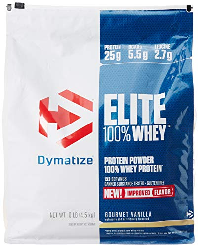 Dymatize Elite 100% Whey Protein Powder, Take Pre Workout or Post Workout, Quick Absorbing & Fast Digesting, Gourmet Vanilla, 10 Pound (Best 10 Protein Powder)