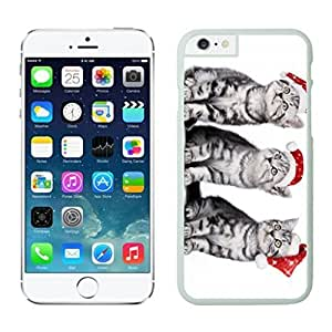 Design for Mass Customization Red Christmas Hat Naughty Cats White Phone Case For Iphone 6 4.7 Inch