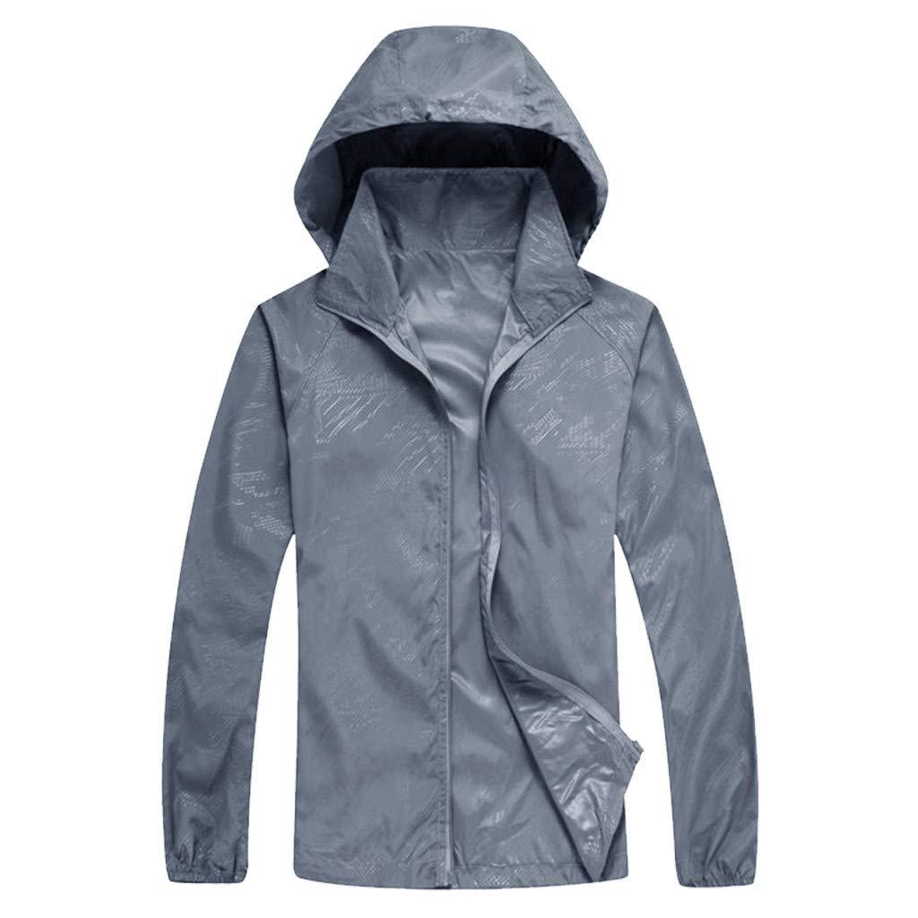 Professional Outdoor Hooded,Unisex UPF 50+ UV Sun Protection Performance Long Sleeve Jacket Coat (3XL, Gray)