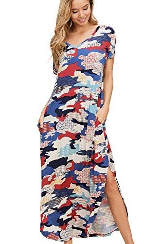 with Long Annabelle Red Women's Neck Dresses Short V Sleeve Maxi Split Camo Pockets OTzOZ