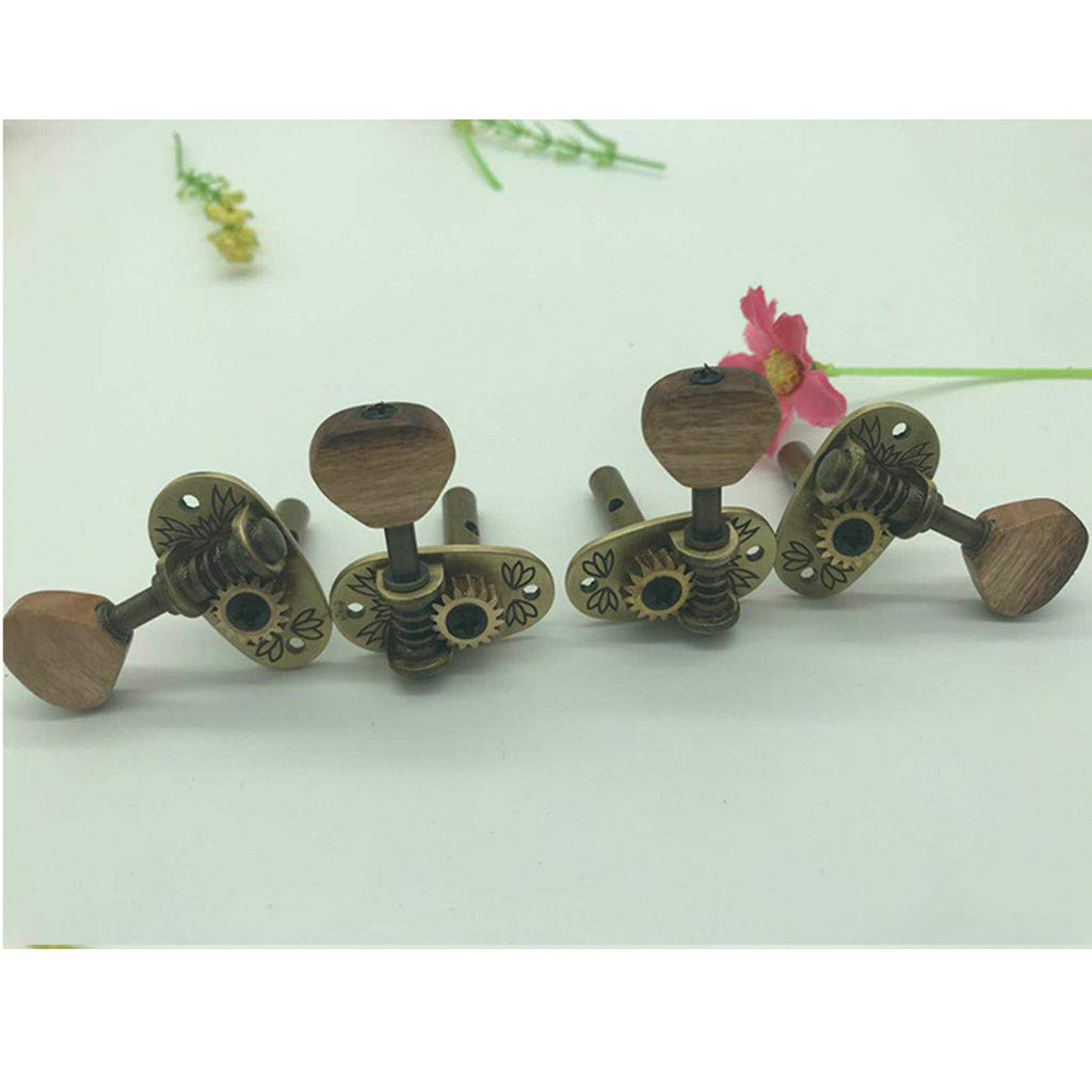 4 String Guitar Tuning Pegs kesoto Ukulele Machine Heads Tuners Open 2R2L Acacia Wood Knob with Mounting Screws