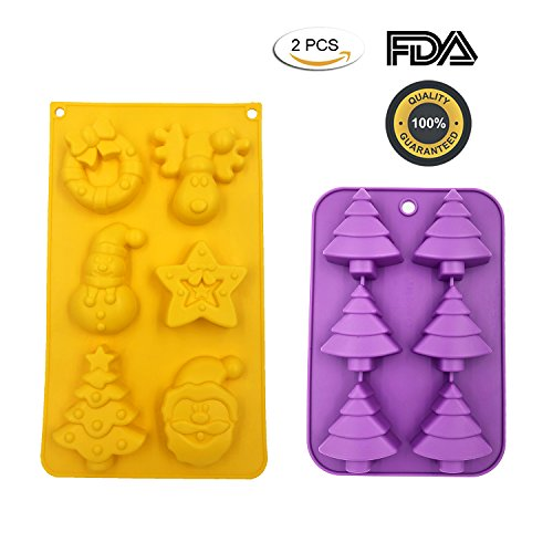 Christmas Molds 2 PCS Food Grade Silicone DIY Chocolate Candy Cake Tree Santa Head Snowman Reindeer Bell by Outton (Mold Candy Santa)
