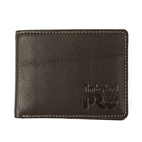 Timberland PRO Men's Leather RFID Wallet with Removable Flip Pocket Card Carrier, dark brown/Fuller, One Size