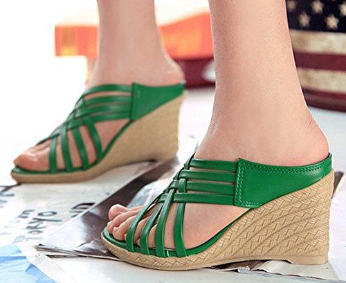 Idifu Moda Para Mujer Strappy High Wedge Heels Slip On Gladiator Mules Sandalias Verde