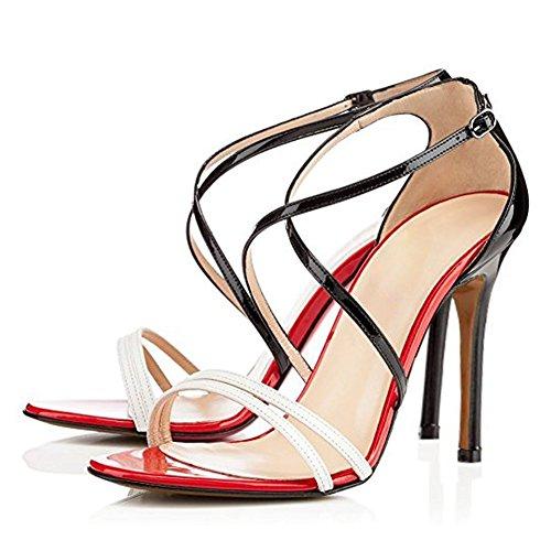 Damen Open Toe Sandalen High-Heels Stiletto Glitzer Criss Cross Hochzeit Rot