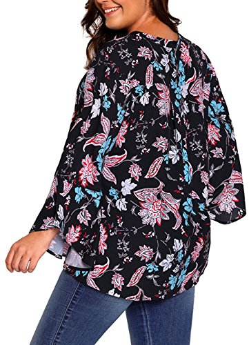 ae918f0d13d Wecail Women Newest Basecolor Wrap Neck Floral Paisley V Neck Bell Sleeve  Chiffon Plus Size Blouse Top Shirts  Amazon.co.uk  Clothing