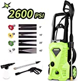 Homdox Pressure Washer, Power Washer with 2600 PSI,1.6GPM, (4) Nozzle Adapter, Longer Cables and Hoses and Detergent Tank,for Cleaning Cars, Houses Driveways, Patios (Green)
