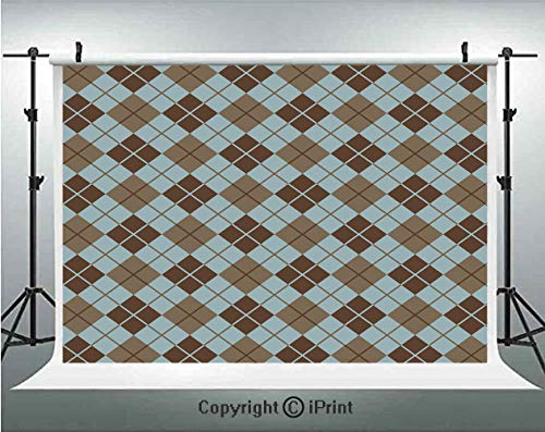 Brown and Blue Photography Backdrops Argyle Pattern with Diamond Shaped Rectangles Lines Abstract Geometric,Birthday Party Background Customized Microfiber Photo Studio Props,10x6.5ft,Bluegrey Brown