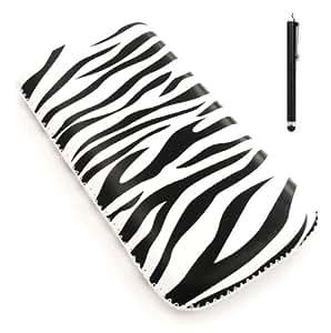Emartbuy Stylus Pack Para Htc Radar - Negro Stylus + Protector De Pantalla + Zebra Negro / Blanco Funda De Cuero De Primera Calidad Pu / Case / Manga / (Large) Con El Mecanismo De Lengüeta