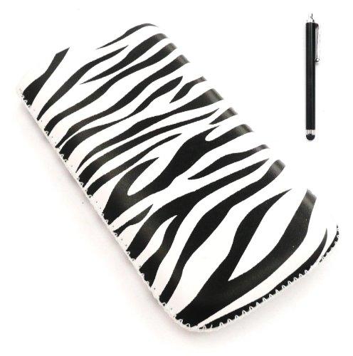 Emartbuy Stylus Pack für Apple iPhone 3G / 3GS - Schwarz Stylus + LCD displayschutz + Zebra Schwarz / Weiß Premium-PU-Leder-Tasche / Case / Sleeve / Halter (groß) mit Pull Tab Mechanismus
