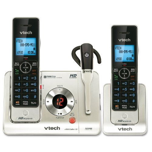 (VTech LS6475-3 DECT 6.0 Expandable Cordless Phone with Answering System and DECT Cordless Headset, Silver with 2 Handsets and 1 Headset)