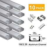 hunhun 10-Pack 3.3ft/1Meter U Shape LED Aluminum Channel System With milky Cover, End Caps and Mounting Clips, Aluminum Profile for LED Strip Light Installations, Very Easy Installation: more info