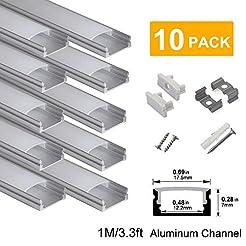 hunhun 10-Pack 3.3ft/1Meter U Shape LED ...