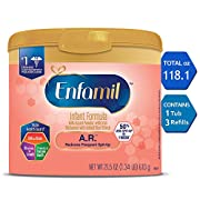 Enfamil A.R. Infant Formula - Clinically Proven to reduce Spit-Up in 1 week - Reusable Powder Tub & Refill Boxes, 118.1 oz